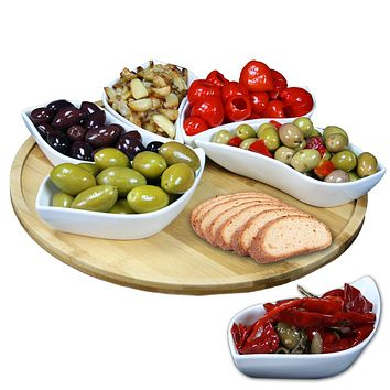 Elama Signature Modern 13.5 Inch 7pc Lazy Susan Appetizer and Condiment Server Set with 6 Unique Design Serving Dishes and a