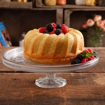 The Pioneer Woman Adeline Clear Footed Cake Platter - Walmart.com