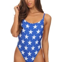Blue Stars Patriotic Swimwear One Piece