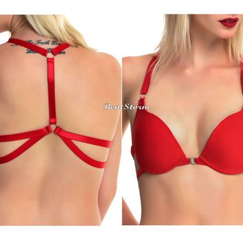 Licensed cool LOVEsick RED T-back Bra Molded padded cups Adjustable Straps Hot Topic EXCLUSIVE