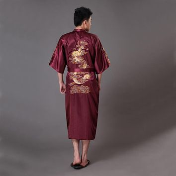 High Quality Burgundy Men's Kimono Bath Gown Chinese Style Silk Satin Robe Embroidery Dragon Nightgown Sleepwear Pijamas MR012