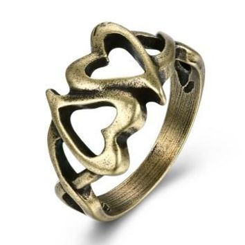 Low price double heart interlocking copper vintage rings women men trendy engagement finger ringVSR0017