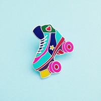 Roller Skate Enamel Lapel Pin Badge - Rollerskating - Roller Derby