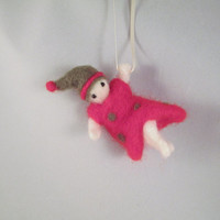 Needle Felted Christmas Ornament - Holiday Pixie Elf Wool Doll Soft Sculpture