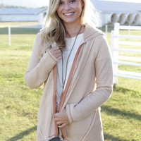 French Terry Hooded Jacket, Wheat