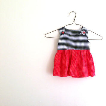 Baby Pinafore Dress | Baby Cotton Sundress | Polka Dot Dress | Striped Summer Dress