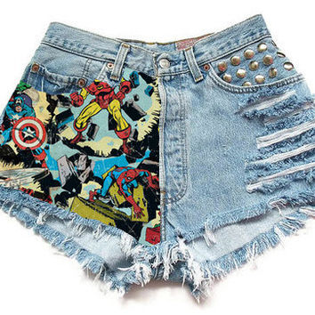 The Marvel High-Waisted Shorts (spikes, studs, marvel, comic book)