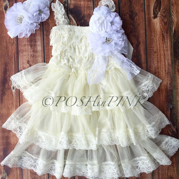 Rustic girl dress, ivory country Champagne, cream lace chiffon dress, flower girl, bridal wedding, shabby chic, vintage, ruffle, child, sash