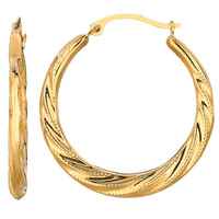 10K Yellow Gold Swirl Texture Round Hoop Earrings