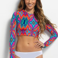 Ikat Plus Size Long Sleeve Rash Guard
