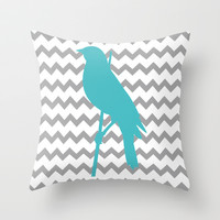 Chevron Bird Throw Pillow by C Designz