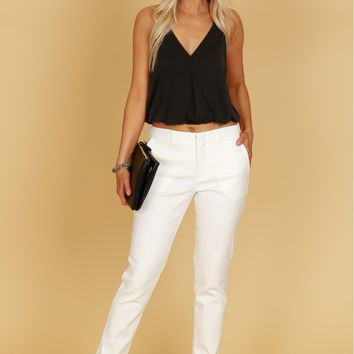 Straight Leg Trousers Off White