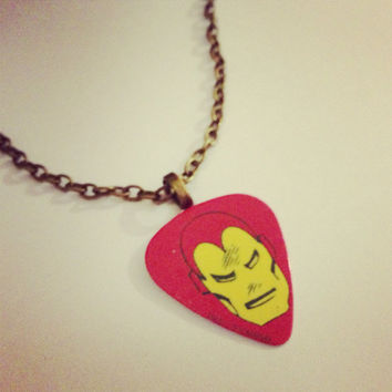 Retro Ironman Guitar Pick Necklace by RabbitJewellery on Etsy