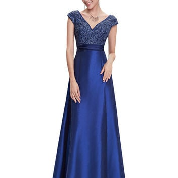 Evening Dress Special Occasion Ever Pretty HE08495 Women Sexy V-neck Ruched Waist  2016 Royal Blue Dress Evening Dress