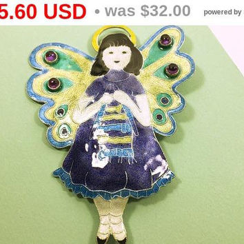 Gita Maria Angel Brooch - Shawl Pin - Knitter's Jewelry - Fairy - Knitting - Angel - Vintage Glass Enamel Jewelry - Artisan - Modern