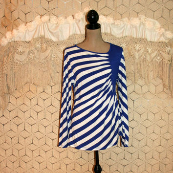 Royal Blue + White Diagonal Stripe Top Nautical Long Sleeve Summer Top Tshirt T Shirt 4th of July Size 14 Size 16 XL Large Womens Clothing