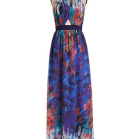 ModCloth Statement Long Sleeveless Maxi Express your Impressionism Dress