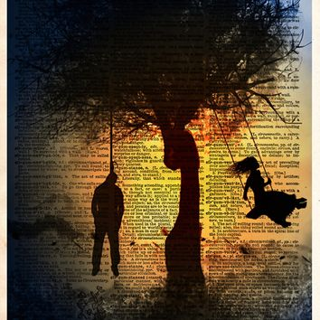Hanged man and girl on tree swing, creepy horror art