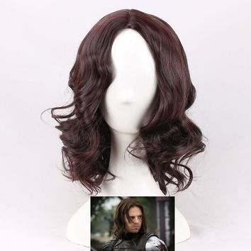 Captain America Civil War Winter Soldier Bucky Barnes Cosplay Wigs Dark Brown Synthetic Wigs Party Costume Wigs + Wig Cap