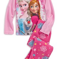 Girl's Disney 'Frozen' Microfleece Two-Piece Fitted