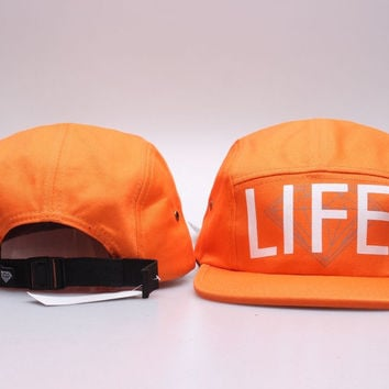 Diamond 5 Panel Cap Hat Classic Strapback Bone Diamond Five Panel Snapback Gorro Hip Hop Orange Hat for Men & Women