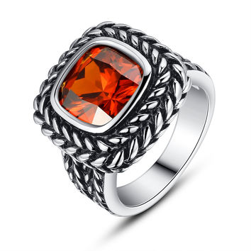Stainless Steel Vintage Square Red-Orange Cubic Zirconia Ring