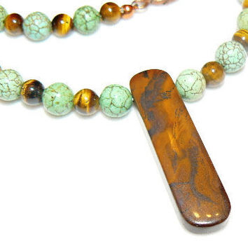 Jasper Tab Pendant Necklace with matching by 3cedarsjewelry