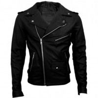 VIPARO | Black Classic Brando Leather Jacket - Marlon