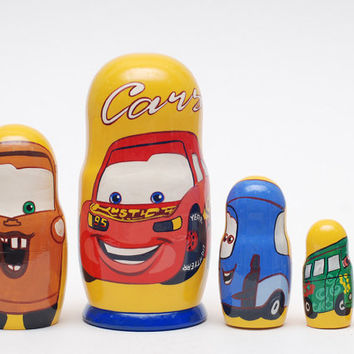 Cars cartoon nesting doll matryoshka stacking doll set of 5,  free shipping