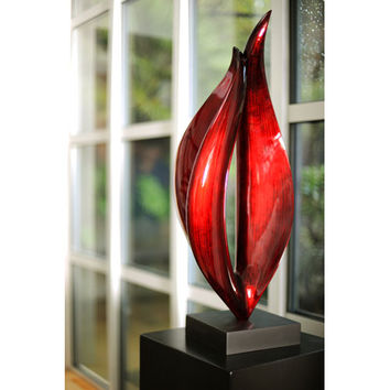Hebi Arts LPSC035-S-RB Red Black Flame Sculpture