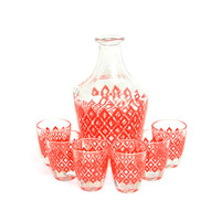 Red Diamond Decanter & Shot Glasses (6) Set - Verrerie Cristallerie D'Arques, France - Retro Bar Serving - Vintage Home Decor
