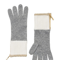 Kate Spade Zip Up Gloves Cream/Grey/Pumice ONE