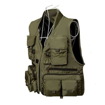 Outdoor Fly Fishing Vest Quick Dry Ultra Light Fishing Waistcoat Breathable Multi-pocket Military Tactical Vest Hunting Jackets