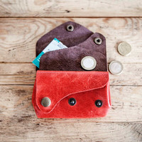 RED Leather PURSE // Small leather wallet // Color Leather bag purse // Leather coin purse wallet // coach leather // Leather purses TRIVIUM