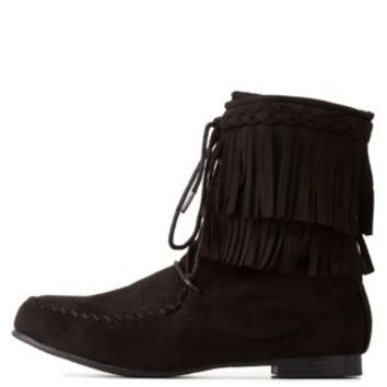 Black Lace-Up Fringe Booties by Charlotte Russe