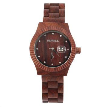 BEWELL Wooden Watches Womne's Crystal Calendar Quartz Wrist Watch Special Design Relogio Masculino