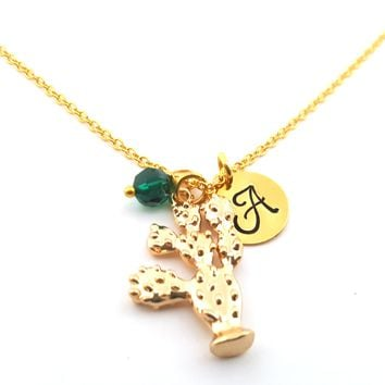 Cactus Personalized Initial Hand Stamped Gold Necklace