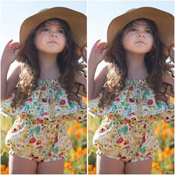 Summer Infant Baby Girl Floral Romper  New Arrival Summer Jumpsuit Outfits Sunsuit Clothes Halloween Gift