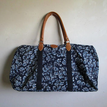 Vintage 80s GITANO Tote Bag Blue Floral Cotton Canvas Weekend Overnight Duffle 1980s Hand Luggage