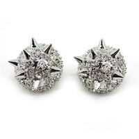 Twinkling Punk Spike Use Austria Crystal 18K Gold-Plated Studs Earrings