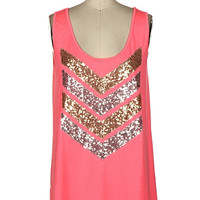 Sequin Chevron Tank - Pink
