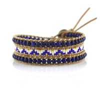 Lapis with Miyuki Glass Seed Beads on Natural Leather Wrap Bracelet