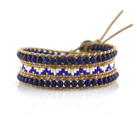 Lapis with Miyuki Glass Seed Beads on Natural Leather