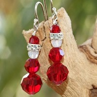 Santa Christmas Earrings, Handmade Swarovski Crystal Holiday Jewelry Siam Red
