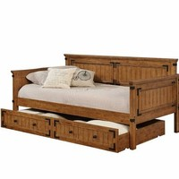 Country living style rustic honey finish wood twin day bed with slide out trundle