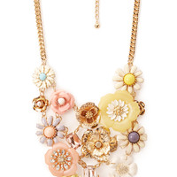 Mixed Media Floral Necklace
