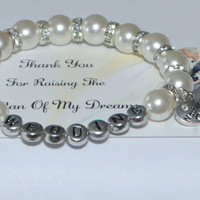 wedding bracelet - monogrammed - bridal party - will you be my - flower girl gift - personalized wedding - handmade bracelet