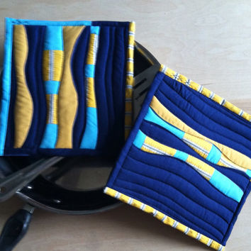 Potholders, Handmade, Modern Quilted Potholders,Hot Pads,Blues,Yellow,Trivets, Quilts,Cadet Blue,Kitchen, Housewares
