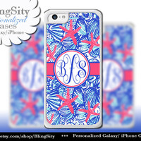 Monogram Starfish Pastels iPhone 5C 6 Case 6 Plus iPhone 5s 4 case Ipod 4 5 Touch Cover Aqua Blue Shells Red Coral Personalized