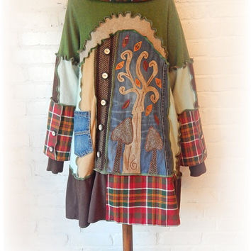 Upcycled Dress Smock Sweater Tree Applique Green Cashmere Hoodie Whimsical Pagan Rustic Unique Tartan Recycled Eco Wearable Art Size Large